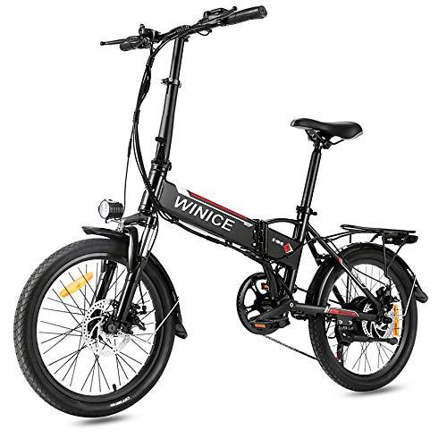 VIVI Elektrofahrrad Klapprad 20 Zoll 36V E-Bike Faltrad Pedelec Elektro Klapprad mit Motor Citybike 7-Gang Klappfahrrad (F20 Gabelfederung-Schwarz)