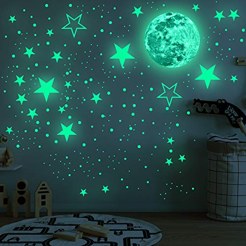 Glow in The Dark Moon and Stars Wall Decals , Glowing Stars Stickers for Ceiling Wall Decals, Perfect for Kids Nursery Bedroom Living Room(435 Pcs)