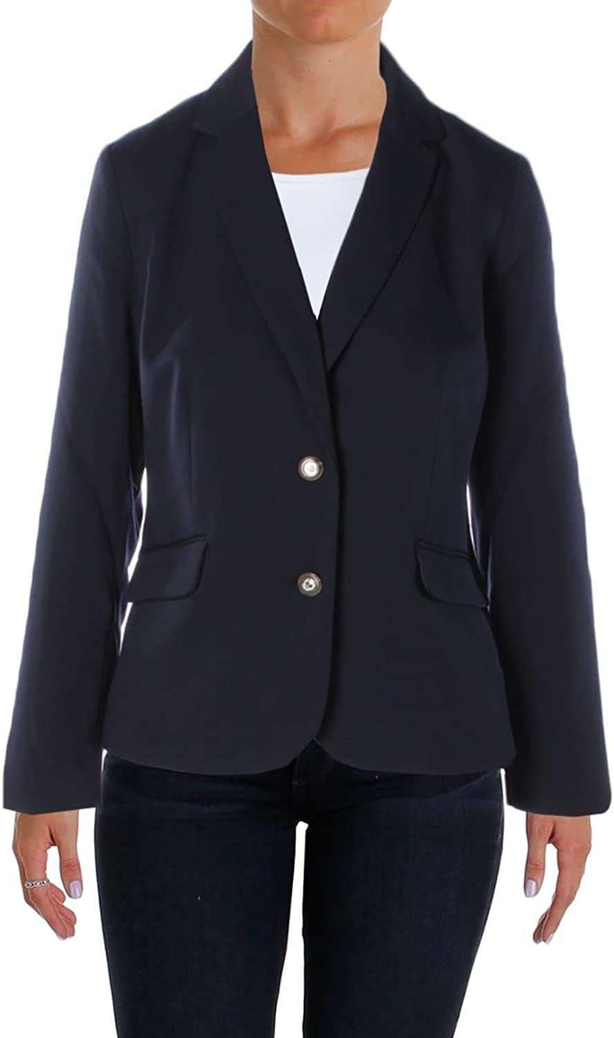 Charter Club Womens Solid Long Sleeves Jacket Navy 8