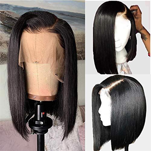 for Black Women Short Wigs Bob Wigs Lace Front Human Hair Wigs 13x4 Lace Malaysian Straight 100% Real Human Hair Wig 14 Inch 150% Density Pre-Plucked Bleached Knots Glueless Wig with Baby Hair Cheap