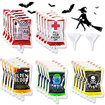 25 Pack Halloween Blood Bags for Drinks, Hallow...