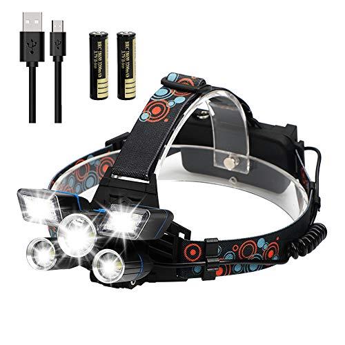POWERGIANT Linterna Frontal LED Recargable, Alta Potencia Lámpara de Cabeza USB 9 Modos de Luz 5, IPX4 Impermeable para Ciclismo, Senderismo, Camping, Correr, Pesca