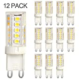 G9 5W LED Bulb, 60W Halogen Bulb Replacement, Daylight White 6000K, Pin,12-Pack