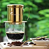 Vietnamese Coffee Maker Filter Phin, Small French Press Portable Cup, Single Serve Coffee Makers, Gift for coffee lovers (Gold, 1)