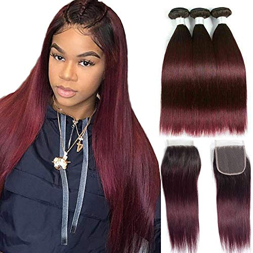 Ombre Brazilian Hair bundles with Closure - ORANGE STAR Ombre Brazilian Virgin Hair 4 Bundles With Lace Closure 2 Tone Ombre Straight Hair Black to Burgundy 99j (10\
