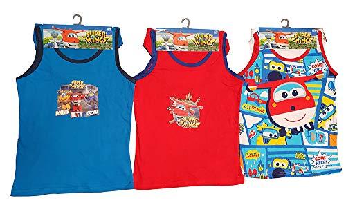 SuperWings Donnie, Jett und Jerome 6tlg. Unterwäsche-Set aus 100% Baumwolle, bestehend aus Hemd und Slip in den Farben Rot, Blau und Weiß, für Jungen (152)