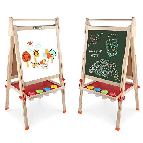 Kids Wooden Art Easel Double-Sided Whiteboard and Chalkboard Adjustable Standing Easel with Paper Roll Holder,Letters and Numbers Magnets and Other Accessories Gift for Kids Toddlers Boys and Girls