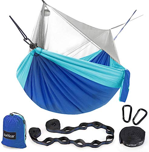 Hammock Camping with Bug Net Netting, Portable Camping Hammock Double Tree Hammock Outdoor Indoor Backpacking Travel & Survival, 2 Tree Straps (16+1 Loops Each, 20Ft Total)