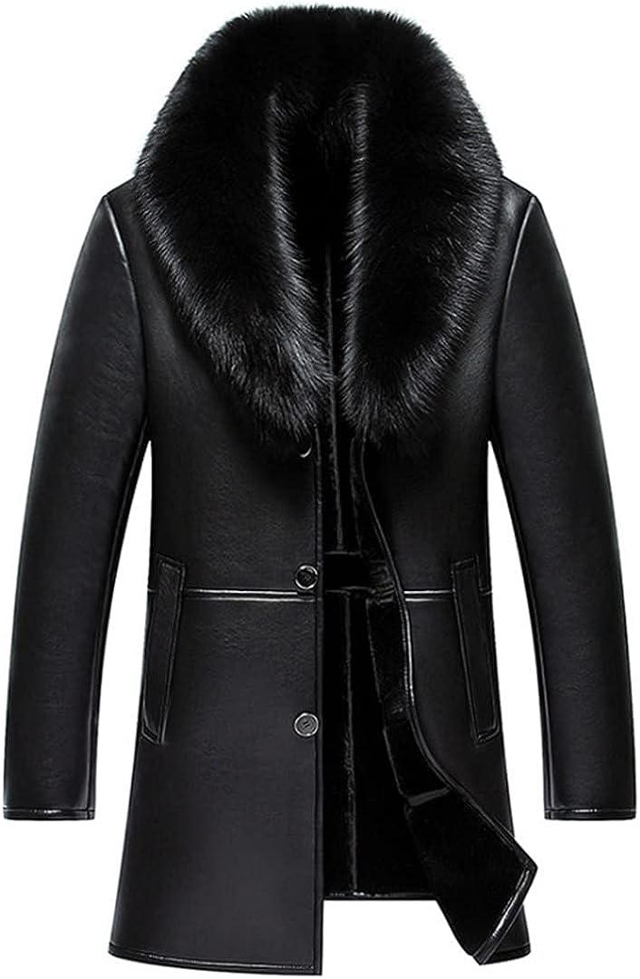 Leather Jacket Men Business Casual Medium Long Windbreaker Coat Skin Jacket