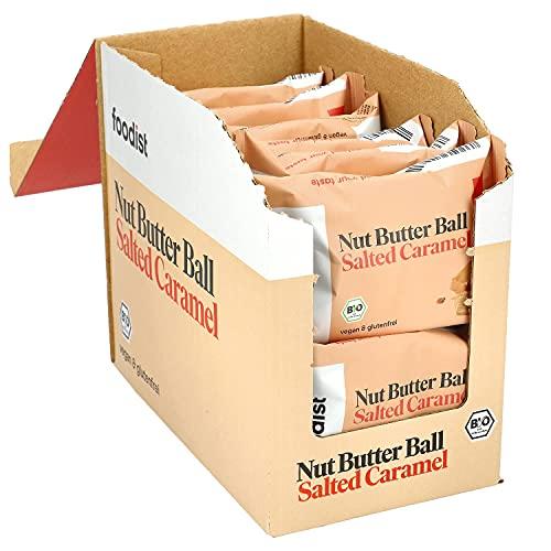 Foodist Nut Butter Ball Salted Caramel BIO mit Dattelbasis, cremiger Erdnussmus-Snack ohne Zucker-Zusatz, glutenfrei, veganer Snack für unterwegs im 12er Pack