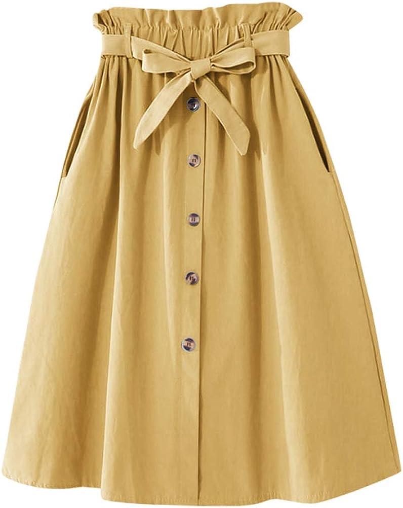 IDEALSANXUN Womens Casual Aline Cotton Linen Pleated Flared Midi Skirts