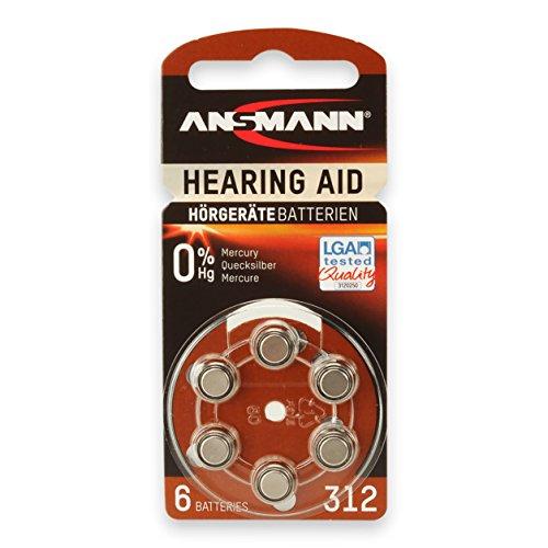 ANSMANN Hörgeräte-Batterien 312 ( PR41 ) Zink/Luft 1,4V 6er Pack