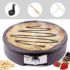 Duronic PM152 Krepy Maker | 1500 watów | z płytą nieprzywierającą 37 cm | Dystrybutory ciasta, wendery i pojemniki pomiarowe | Powłoka antyadhezjowa | Urządzenie do naleśników, ciast patelni, omletów, naleśników