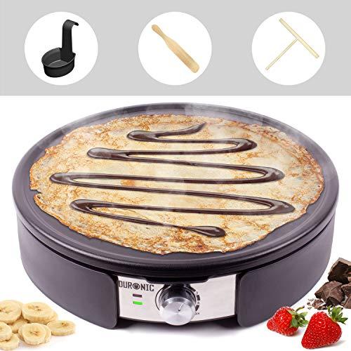 Duronic PM152 Crepe Maker | 1500 Watt | mit 37 cm Antihaftplatte | Teigverteiler, Wender und Messbehälter | Antihaftbeschichtung | Crepegerät für Pfannkuchen, Pan Cakes, Omeletts, Palatschinken