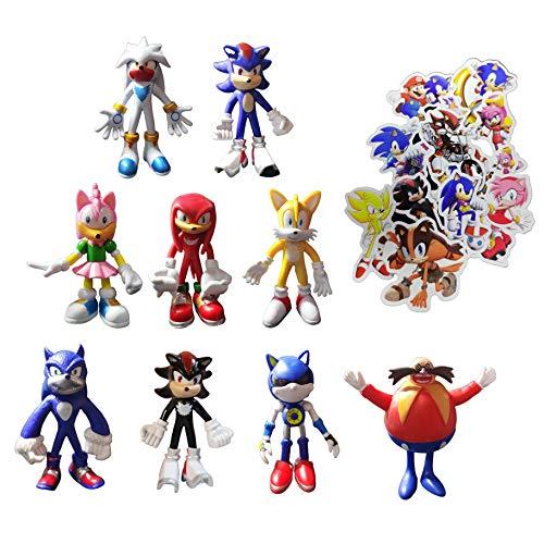 XINSHENG Sonic Toys 9 unids/set figuras sónicas figuras sónicas suministros de fiesta de cumpleaños magdalenas figuras de fiesta decoración de pasteles suministros para tartas