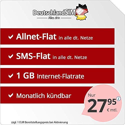 DeutschlandSIM Flat M - monatlich kündbar (1GB Internet-Flat, Telefonie-Flat, SMS-Flat, EU-Ausland inklusive, 27,95 Euro/Monat) Vodafone-Netz