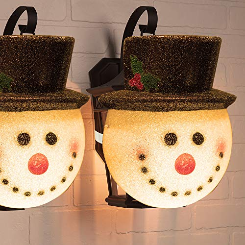 FUNPENY 2 Pack Snowman Christmas Porch Light Covers 12 Inch, Christmas Outdoor Decoration Holiday Light Covers for Porch Lights, Garage Lights, Large Light Fixtures