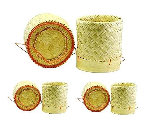 3 x Thais bamboemand rijstmand 1 x 13 cm + 2 x 7 cm diameter voor het stijlvol koken en serveren van rijst