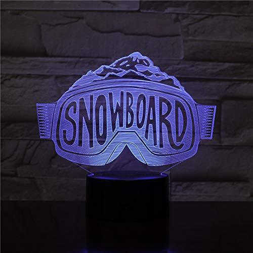 Snowboard-Form Lampe, Led Nachtlicht Kinder 3D Nachtlicht, 16 Farben Ändernde Optische Täuschung Usb Lampe - Perfekte Geschenke Für Jungen Mädchen Am Geburtstag Weihnachten Urlaub