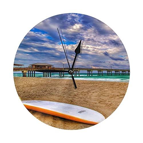 GOSMAO Reloj de Pared Redondo,Tabla de Surf de Playa,Reloj de Escritorio Reloj Decorativo para la Oficina de la Escuela en casa