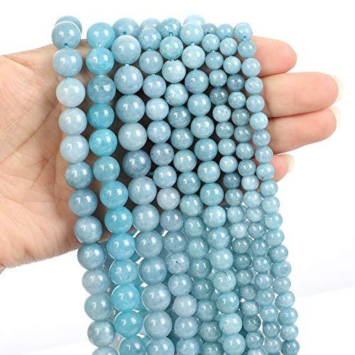 38pcs 10mm Blue Chalcedony Jades Natural Stone Beads for Jewelry Making, Energy Stone Healing Power,Enjoy DIY Fun