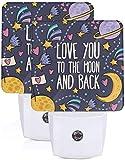 2Pc Love You to The Moon and Back Sign Cute Led Nights Light con Auto Dusk to Dawn Sensor Lámpara de noche Plug in LED Home Decorativo Luz de cama para niños Adultos Habitación