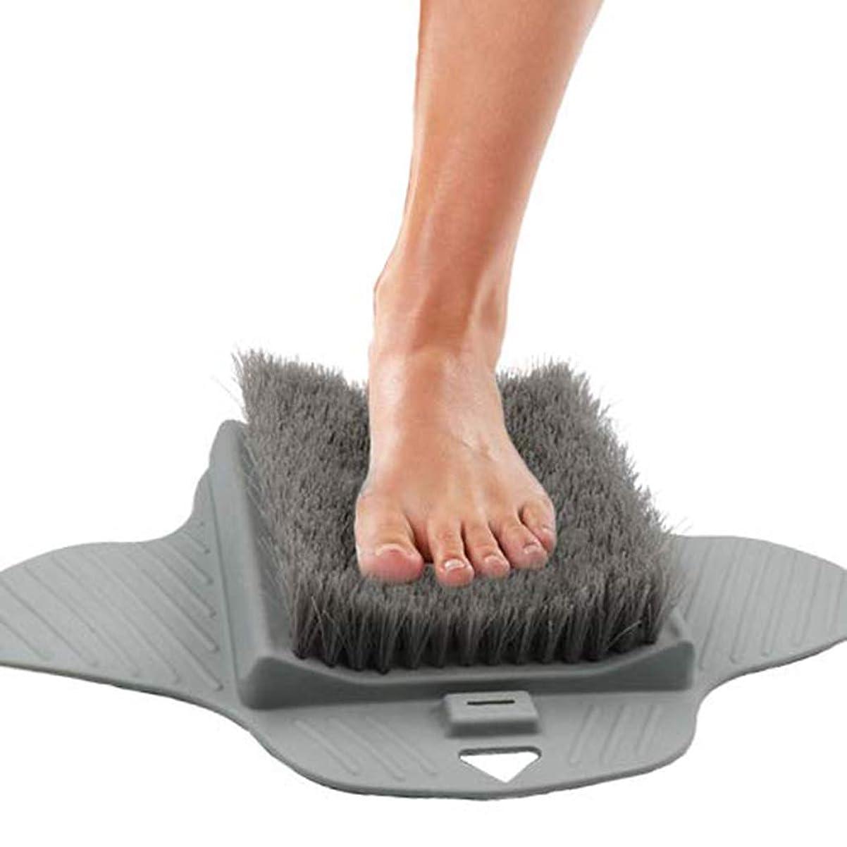 ボーダーケーブルみなす角質除去フットマッサージャースクラバー、シャワーフック付き、足の掃除が簡単&シャワーフロアフットスクラブ、グレー用