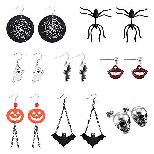 FEPITO 8 paia orecchini di Halloween, pipistrello di zucca ragno fantasma scheletro orecchio orecchini set di gioielli decorazioni per feste di Halloween costumi di Halloween per donne, ragazze