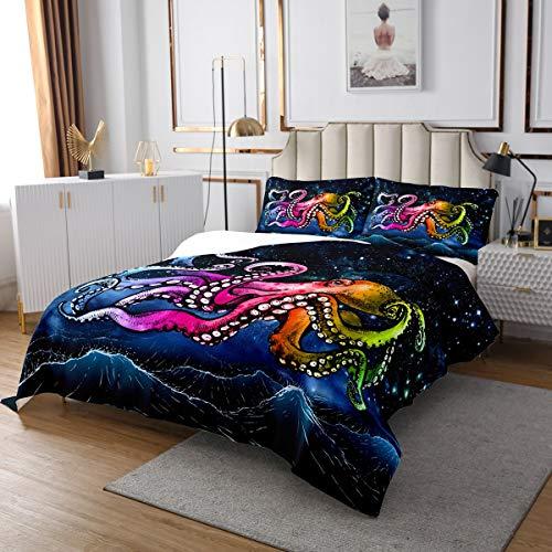 Octopus - Juego de colcha decorativa de vía lechosa para niños, niños, niñas, animales del océano, decoración de habitación individual
