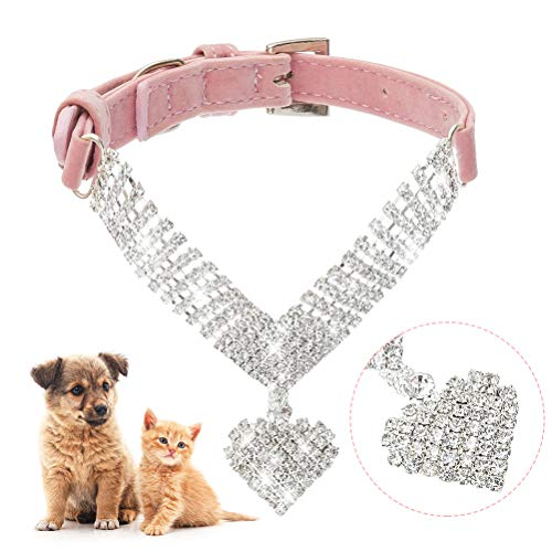 EXPAWLORER Strass Hundehalsband Hundewelpen-Katze-Kristallhalsbänder Jeweled Halskette XS Rosa