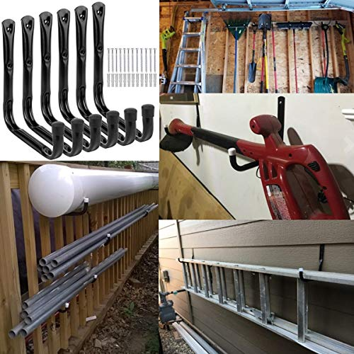 Garage and Garden Storage Utility Hooks Heavy Duty Jumbo Arm Hanger (6 Pcs Black 8