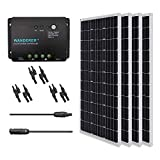 Renogy 400W Monocrystalline Bundle Solar Panel Kit with 4 packs 100W Solar Panels, Wanderer Li 30A PWM Charge Controller, Renogy 9in MC4 Adaptor Kit and Solar MC4 Branch Connectors MMF+FFM