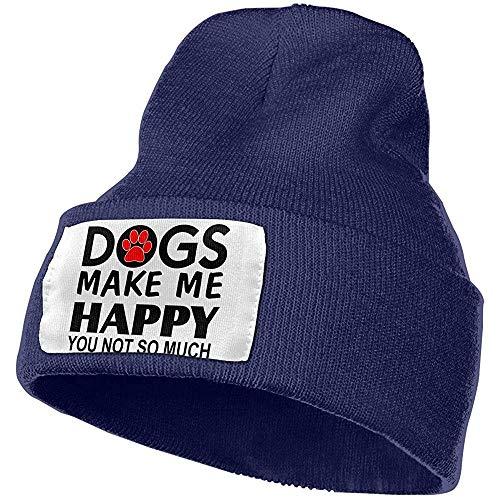 I cani mi rendono felice che non così tanto uomini donne caldo inverno maglia cappello a cuffia pianura berretto teschio acrilico cappello polsino in maglia