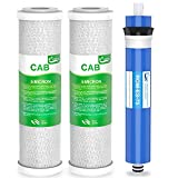 Combo Pack FX12P and FX12M or TFM-24 Water Filter Replacement, Compatible GE RO Set GXRM10RBL GXRM10G Reverse Osmosis Systems, 2x Carbon Block Filters, 1x RO Membrane Filter