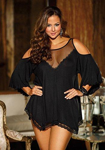 Shirley of Hollywood nummer x3257 maat 3 X blauwgroen viscose Jersey knit sleepshirt met string