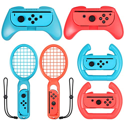 CAMWAY Game Accessories Bundle for Nintendo Switch Joy-Con With Switch Grip,Gaming Tennis Racket, Gaming Steering Wheel, Accessories for Mario Tennis Aces Game, Switch Controller Grip Handle Kit
