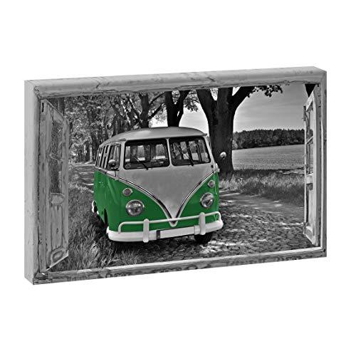 Querfarben Bild auf Leinwand mit Fenster-Motiv Fensterblick Allee mit Retro Bulli 40x60 cm SW/Gelb, Wandbild, Leinwandbild mit Kunstdruck, Fensterblickbild auf Holzrahmen...