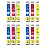 Go Inks E-715CMY - Juego de 3 Cartuchos de Tinta compatibles para sustituir T0712, T0713, T0714 para impresoras Epson Stylus (12 Unidades)