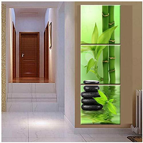 NIESHUIJING Leinwand Bilder Wandkunst Leinwand Malerei Stein Bambus Dekoration Für Wohnzimmer-50x50 cm Kein Rahmen