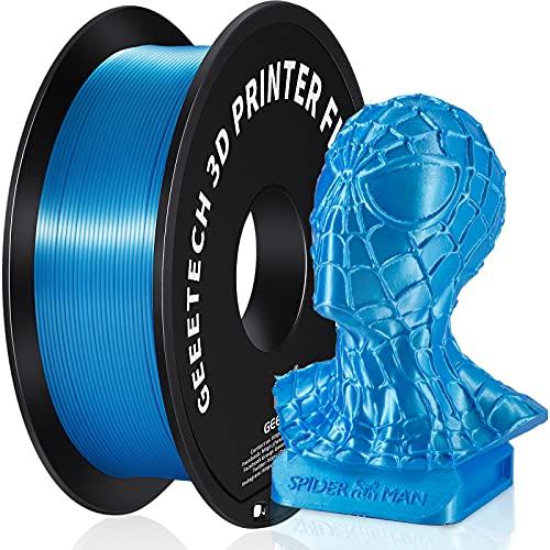 GEEETECH filamento PLA 1.75mm Silk sky blue, Filamento Stampante 3D PLA 1kg Spool (PLA sky blue)