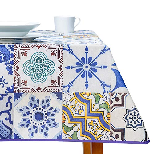 ANRO Mantel lavable Premium Textil Mantel Mantel fácil de limpiar Azulejos Azulejos Estilo Azulejos 110 x 160 cm