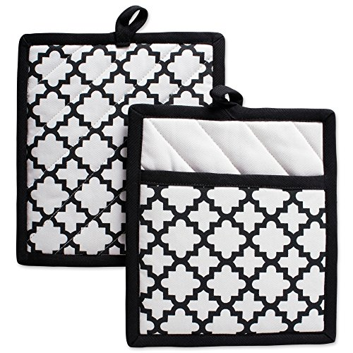 DII Cotton Lattice Pot Holders, 9 x 8 Set of 2, Machine Washable and Heat Resistant Hot Pad for Everyday Kitchen Cooking & Baking-White