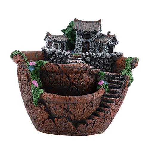 Zerodis 18 x 16 cm en résine pour cactus succulents Pot de fleurs pour bonsaï Pot de fleurs paysage Pot de fleurs artificielles Support pour décoration de jardin maison (Orange)