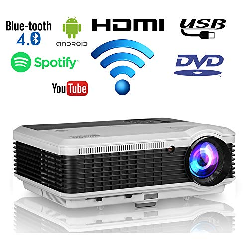 Wifi Bluetooth HDMI Home Theater Projector Outdoor Movie HD 1080P Support 4600 Lumen Smart Bluetooth Wireless Android Projectors Multimedia LED LCD Video TV Gaming Proyector with HDMI USB VGA AV Audio