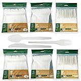 Eco Natural Juego de Cubiertos Reutilizables de Almidón de maíz Biodegradable, Cuchara, Cuchillo y Tenedor 100 piezas de cada uno.Higiénicamente Empaquetados,Compostables,Libre de BPA,100% Ecológicos