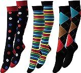 Vitasox - Calze di sostegno al ginocchio in cotone con compressione per volo, viaggi, ufficio e auto, calze contro il gonfiore 1 x quadretti colorati. 39-42