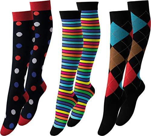Vitasox 44482 Stützstrümpfe für Damen & Herren, Stützkniestrümpfe aus Baumwolle mit Kompression für Flug, Reise, Büro und Auto, Thrombose Socken, 1 Paar schwarz gepunktet 39/42