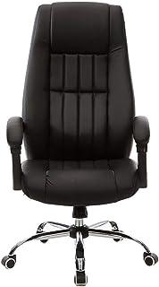 Silla de oficina ergonómica reclinable para muebles, sillas de escritorio giratorias de 360 ° con respaldo alto Sillas de trabajo de cuero regenerado con altura y elevación ajustables, en negro