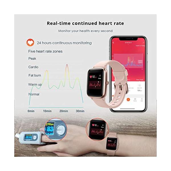 Reloj Inteligente Mujer Hombre, Smartwatch con Pulsómetro, Pulsera Actividad Inteligente con Cronómetros Podómetro… 4