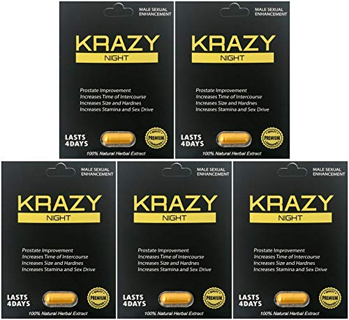 Krazy Night Best Male Enhancing Natural Performance 5 Pill The New Most Effective Natural Amplifier for Performance, Energy, and Endurance (Gold 5 Pills)